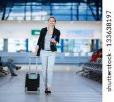 pretty young female passenger... | Shutterstock . vector #133638197