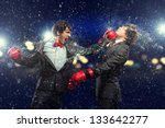 two young businessman boxing... | Shutterstock . vector #133642277