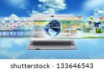Internet Laptop for multimedia sharing and working - stock photo