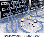 Conceptual image of computer network problems and maintenance with engineers carrying network cable but dont know where to connect - stock photo