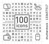 100 outlined icons of holidays... | Shutterstock .eps vector #133657517