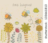 Cartoon bee and flowers. Spring concept card. Summer floral background in vector - stock vector
