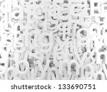 3d background white letters and alphabet - stock photo