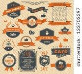 vector vintage coffee stamps... | Shutterstock .eps vector #133703297
