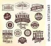 Set Of Vintage Retro Orzo Coffee Labels  . Coffee decoration collection | Set of calligraphic and typographic elements styled design, frames, vintage labels. Vector. - stock vector