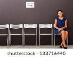 beautiful businesswoman waiting for job interview - stock photo