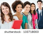 happy smiling students standing ... | Shutterstock . vector #133718003