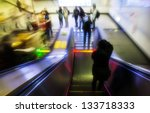 escalator moving - stock photo