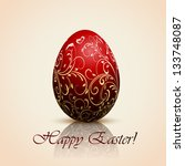 red easter egg with decorative... | Shutterstock . vector #133748087