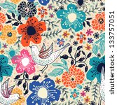 vector floral pattern with colorful  blooming flowers and flying birds - stock vector