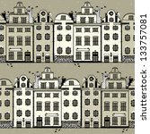 vector  pattern with white and beige old fashion houses - stock vector