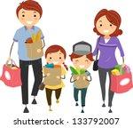 illustration of stickman family ... | Shutterstock .eps vector #133792007