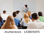 teacher on whiteboard in class... | Shutterstock . vector #133805693