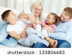 portrait of happy family... | Shutterstock . vector #133806683