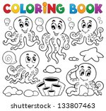 coloring book octopus theme 1   ... | Shutterstock .eps vector #133807463