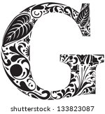 Floral Initial Capital Letter G