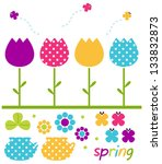 colorful spring tulips set... | Shutterstock .eps vector #133832873