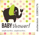 baby card with cute elephant - stock vector