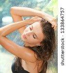 beautiful young girl posing... | Shutterstock . vector #133864757