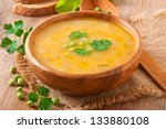 Traditional fresh pea soup in the bowl - stock photo