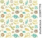 sewing and needlework doodles... | Shutterstock . vector #133897793