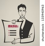 handsome vector waiter with... | Shutterstock .eps vector #133940963