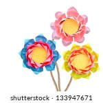 Paper lotus origami bouquet branches isolated white background - stock photo