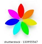 3d Abstract Rainbow Flower On...