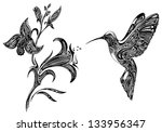 a work of art,abstract,art,art product,bird,black,computer graphic,curve,decoration,flower,hummingbird,ink,nature,orchid,painted image