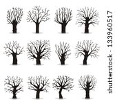 collection of trees silhouettes | Shutterstock .eps vector #133960517