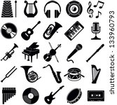 music icon collection   vector... | Shutterstock .eps vector #133960793