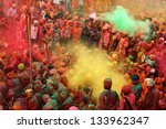 nandgaon   mar 22  people throw ... | Shutterstock . vector #133962347