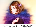 pretty woman with a butterfly... | Shutterstock . vector #133963403