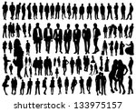 set of people silhouettes | Shutterstock .eps vector #133975157