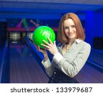 Beautiful Woman In A Bowling...