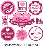 mother's day badges and labels... | Shutterstock .eps vector #134007233
