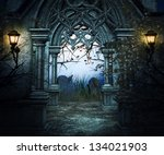 dark graveyard background | Shutterstock . vector #134021903