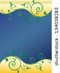 floral swirly blue and gold... | Shutterstock . vector #134038283