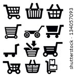 vector black shopping cart icon set on white - stock vector