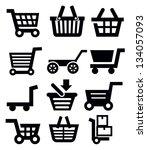 vector black shopping cart icon ...   Shutterstock .eps vector #134057093