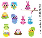 Vector Set of Easter Owls