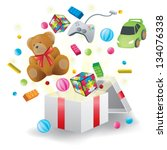 Various toys burst from present box in white background, create by vector - stock vector