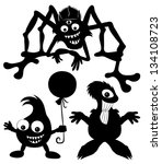 vector silhouettes. monster set. | Shutterstock .eps vector #134108723
