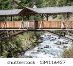beautiful old wooden bridge at...