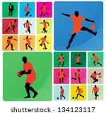 soccer player silhouette | Shutterstock .eps vector #134123117
