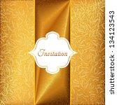 vector gold invitation card... | Shutterstock .eps vector #134123543