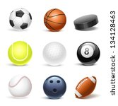 sport equipment vector icon set | Shutterstock .eps vector #134128463