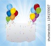balloons birthday over blue... | Shutterstock .eps vector #134155007