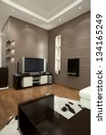 Modern living room wall design - stock photo