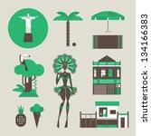 vector set of various stylized... | Shutterstock .eps vector #134166383